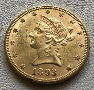 10 $ 1893 год США золото 16,7 грамм 900'