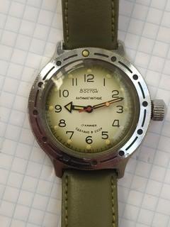 Часы амфибия градация зелёного
