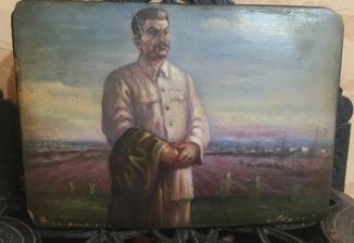 Шкатулка. Федоскино 1949.г. Сталин.