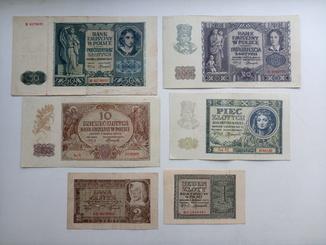 1 , 2 , 5 , 10 , 20 , 50 злотих 1940 , 1941 років.