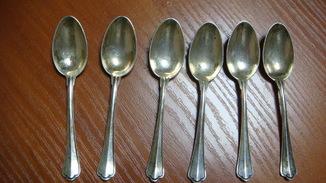 Ложечки кофейные, серебро 800 пр, 6 шт, вес - 69,4 гр