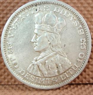 Серебряная монета 10 лит 1936 г. Литва (Первая республика)