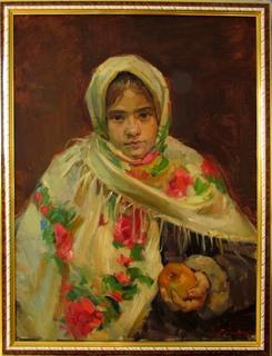 """В.Цыганюк  """"Дівчина з яблуком""""."""
