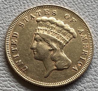 3 $ 1878 год США золото 4,99 грамм 900'