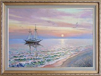 """""""Ранок на Чорному морі"""". Ірена Алісова, картон, олія, 35 х 50 см."""