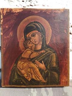 Икона Богородица Владимирская 20.5 см *18 см *2.5 см . Живопись . Темпера.