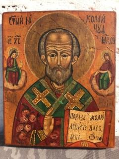 Икона Святой Николай Чудотворец 21.5 см *18 см * 2.5 см . Живопись