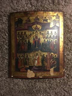 Старинная Икона «Покров Пресвятой Богородицы»