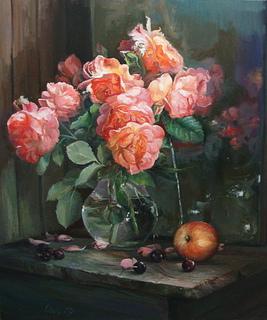 """""""Букет троянд"""" 60х70 см;полотно,олія, Півень С.В."""