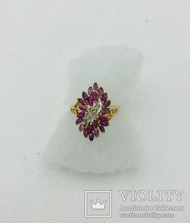 Золотое кольцо с Рубинами и Бриллиантами.