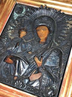 Старинная икона Богоматери оклад серебро 84 проба 1867 года в киоте