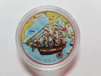 Доллар острова Кука ''Парусник'' 2017 г.серебро + цветная эмаль тираж 100 шт.