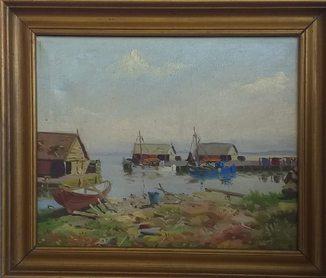 """Картина """"Домики у моря""""Датский художник Hans Friis"""