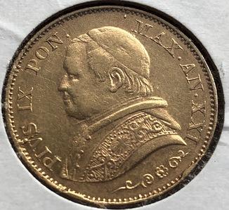 20 лир 1866 год Ватикан золото 6,45 грамм 900'