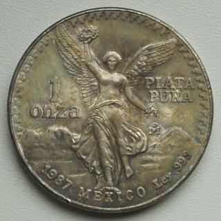 """Мексика, 1 онза (унция) 1987 г.  """"Свобода"""" , серебро"""