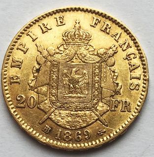 20 франков 1869 года. AU.