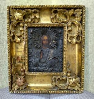 Икона Спас Вседержитель 1849 год серебро 84 пробы