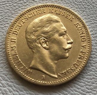20 марок 1899 год Германия Пруссия золото 7,96 грамм 900'
