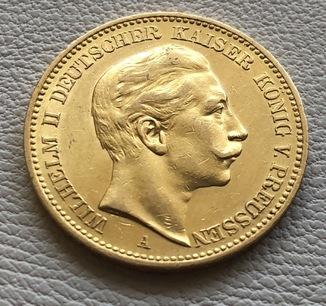 20 марок 1904 год Германия Пруссия золото 7,96 грамм 900'