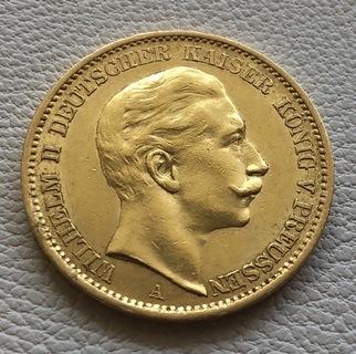 20 марок 1910 год Германия Пруссия золото 7,96 грамм 900'