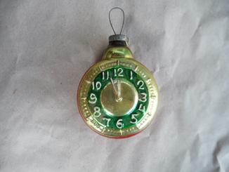Старинная елочная игрушка большие часы
