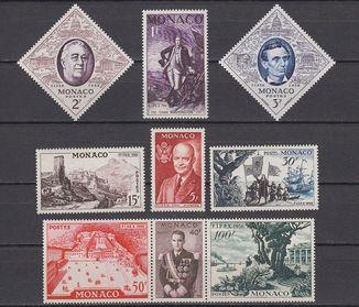 Монако 1956 Yv&T 444/452 Вашингтон Рузвельт Линкольн Ренье III КЦ 32 euro MNH **