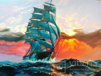 Картина ''Морской закат''. Холст 35х45 см. 2018г.