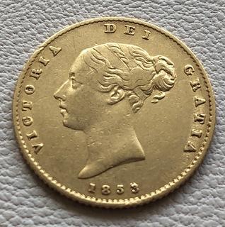 1/2 соверена 1853 год Англия золото 3,87 грамм 917'