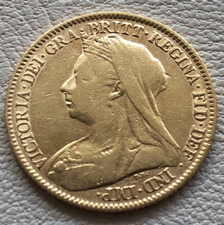 1/2 соверена 1894 год Англия золото 3,93 грамм 917'