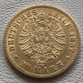 20 марок 1887 год Германия Пруссия золото 7,96 грамм 900'