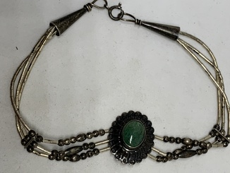Антикварный браслет с Англии с зеленым природным камнем (Стерлинговое серебро)