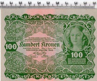 100 крон 1922 год. Австрия. UNC.