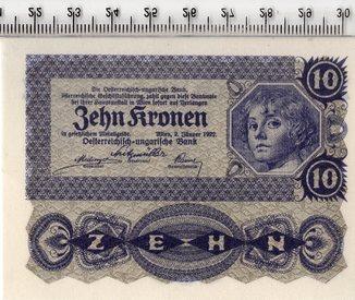 10 крон 1922 год. Австрия. UNC.