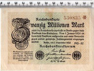 20 миллионов марок 1923 год. Германия.