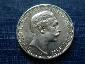 3 марки 1909 г. Пруссия, Вильгельм-2