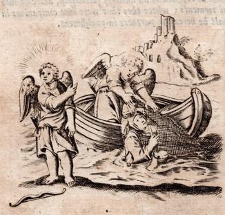 Старинная гравюра. 1720 год. Бумага Верже. (15х9,5см.).