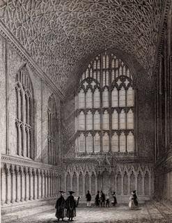 Старинная гравюра. 1850 год. Кентерберийский собор. (26,5х17,5см.).