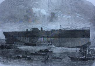 Старинная гравюра. 1857 год. Морская серия. (57х41см.).