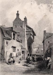 Старинная гравюра. 1849 год. Улица в Перте. (18х12см.).