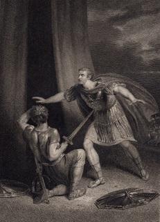 Старинная гравюра. 1803 год. По пьессам Шекспира. Издание Бодейла. (42х32см.).