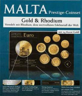 """Євро набір Мальта """"Престиж""""  ПОЗОЛОТА 24 карат, лімітований тираж 2008р."""