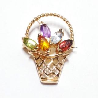 """Миниатюрная золотая брошь """"корзина"""" с натуральными цветными камнями"""