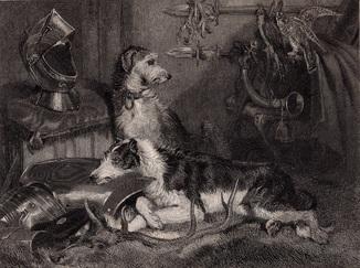 Старинная гравюра. 1828 годa. Сцена в Эбботсфорде. Вествуд. (25,5х17см.).