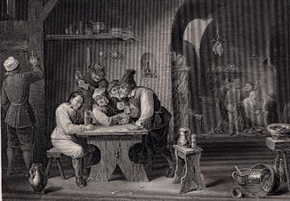 Старинная гравюра. 1850 годa. Голландская гостиница. Изд. Пейна. (29,5х17см.).