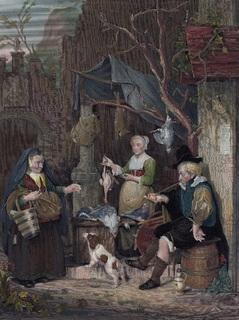 Старинная цветная гравюра. 1850 годa. Торговец птицей. Издательство Пейна. (26,5х20см.).