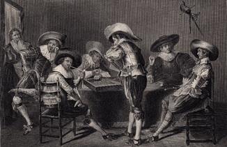 Старинная гравюра. 1850 годa. Нарды. Издательство Пейна. (30х22,5см.).