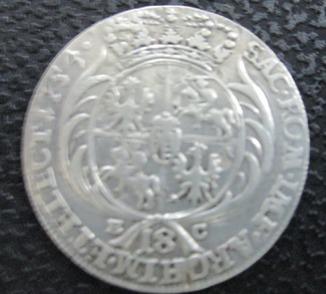 Орт  (18 грошей ) 1754 Август 3 (1733 - 1763)