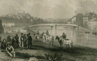 Гравюра. Около 1850. Вена. Мост Фердинанда. 27х18