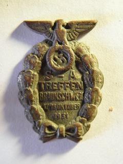 """Знак """"Съезд СА в Брауншвейге 1931"""". Контр Рельефный тип"""