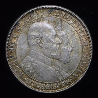 Швеция 2 кроны 1907 Unc серебро Золотая свадьба